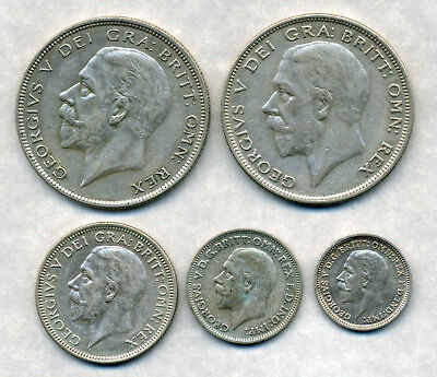 1928, 1929 George V Halfcrowns 1929 Shilling , 1936 Sixpence And Threepence.