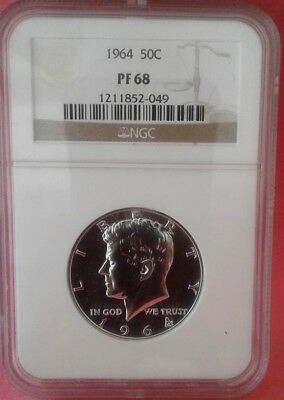 1964 Proof Kennedy Silver Half Dollar graded PF 68 by NGC!