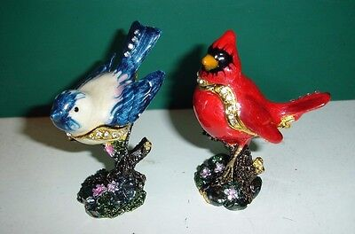 (Lot of 2) Red Cardinal & Blue Jay Bird Hinged Bejeweled Trinket Box as pictured