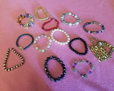 13 Lot Variety Bracelets Beaded silver gold/ tone Floral Faux pearls Multicolor