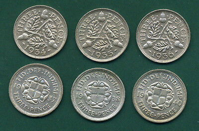 6 X Silver Threepences 1934 To 1940.