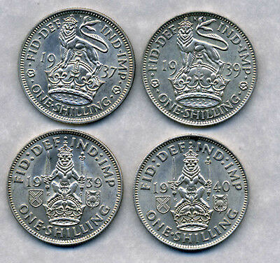 1937 , 1939 X 2 And 1940 George Vi Shillings.