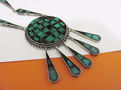 Vintage Mexico Sterling Silver Green & Black Stone Tribal Runway Necklace