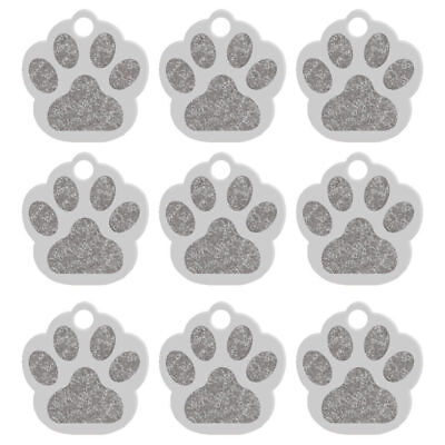 20pcs/lot Bling Paw Shape Custom Pet Dog Tags Disc ID Engraved Collar Tag Silver