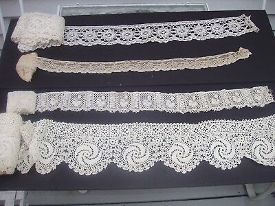 Antique Lace and Trims Lot #26 WIDER Widths Large Amounts of 4 Different Ones