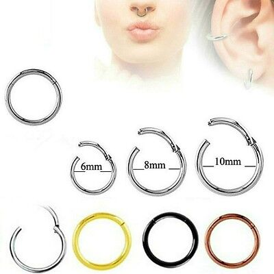 Clicker Hinge Piercing Hoop Segment Ring Ear Nose Tragus Lip Seamless Sleeper