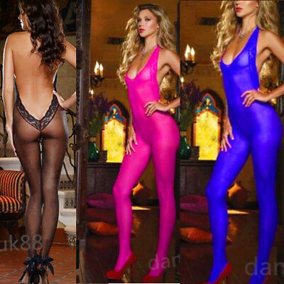 Sexy/sissy halterneck sheer bodystocking bodysuit crotchless nightwear UK seller