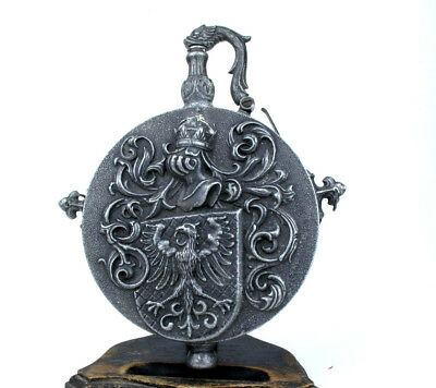 German Steel Powder Flask 16th century, old reproduction approx late19th century