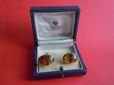 Imperial Russian Amber 84 Silver CUFFLINKS by Faberge design Romanov Dynasty