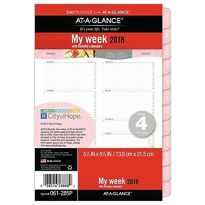 AT-A-GLANCE Weekly / Monthly Refill Day Runner January 2018 - December 2018 5...