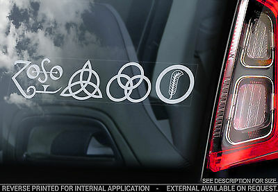 Led Zeppelin 'Zoso Symbols' - Car Window Sticker - Rock Zoso Sign Led Zep - TYP2