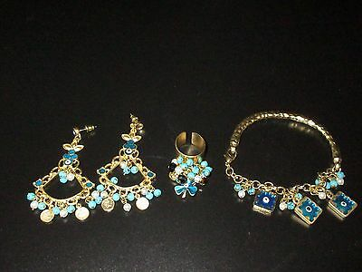 Bracelet Earring Ring Set Gold Tone Evil Eye Turkish Dangle Beaded Turquoise