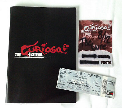 The Cure Curiosa Festival 2004 tour program book, with press pass, ticket