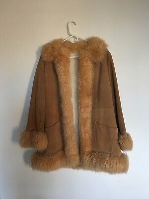 Vintage Penny Lane Leather Suede Shearling 70s Style Winter Coat