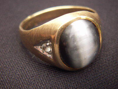 OLD VINTAGE ESTATE SOLID YELLOW GOLD STONE &DIAMOND RING 4.88g 10kp DC SIZE7