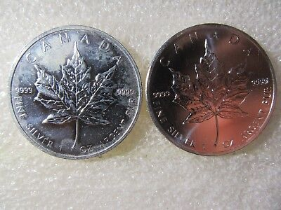 Canada Maple Leaf .9999 Silver  One Ounce  $5 Coins   2 Coins