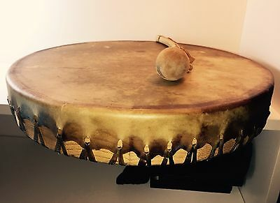 Handcrafted Authentic Native American Animal Skin Hand Drum & Stick -Signed
