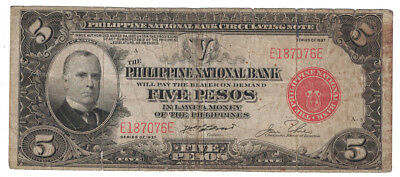 Philippine National Bank - Series of 1937 5 Pesos Banknote (P-57)