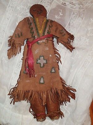 Antique Early Indian Doll Leather Body And Leather Clothing Doll