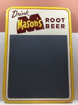 Drink Mason's Root Beer 1950's Tin Sign Chalkboard