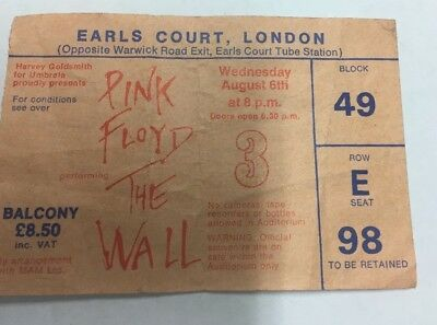 Pink Floyd  The Wall Ticket 1980  - 100% Original -  Earls Court - Ex Condition