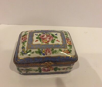 Sevres-Style French Hand-Painted  Floral Porcelain Box  5""