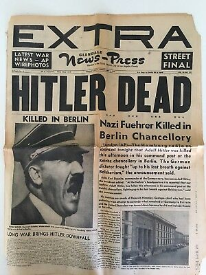 WW2 original newspaper Hitler is Dead 1945