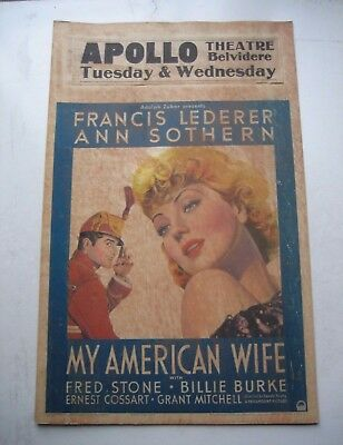 "Vintage 1936""My American Wife""Movie Poster w/ Francis Lederer Original Paramount"