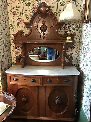 French Louis XV Style Carved Walnut Marble Top Sideboard, Circa 1890's