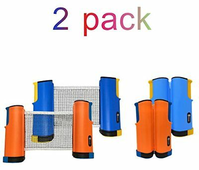 2 Pack Retractable Ping Pong Net Replacement- Portable Table Tennis Net and P...