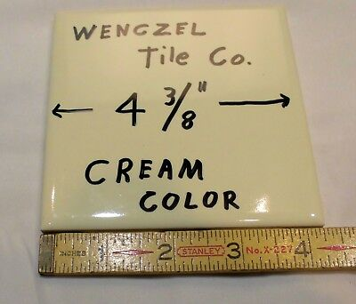 "9 pcs. Glossy Ceramic Tiles...Cream Color...by Wenczel Co. 4-3/8""  off white"