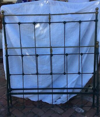 Vintage Victorian metal bed frame w/Cast Iron Rails Green With Brass Finials ~