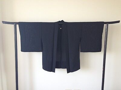 Japanese Black Silk Haori Jacket Vintage Kimono Hand Made Costume