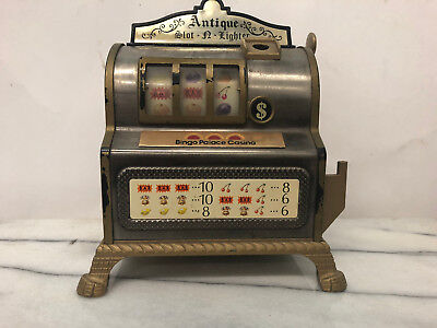 Vintage Antique Small Slot Machine and Lighter (Bingo Palace and Casino)