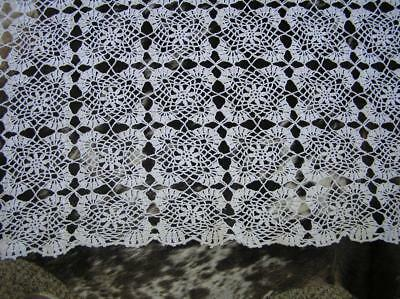 """Antique White Snowflake Crochet Tablecloth 66"""" x 74"""" handmade by Amelia Browne"""