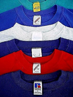 LOT-6 VINTAGE 80s 90s mens L blank SWEATSHIRT made in USA single v distressed US