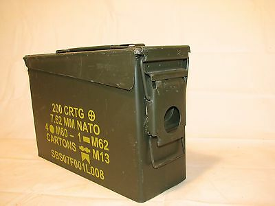 Used Ex Cond M19A1 7.62mm 30 Cal OD Green Ammo Ammunition Can US Military