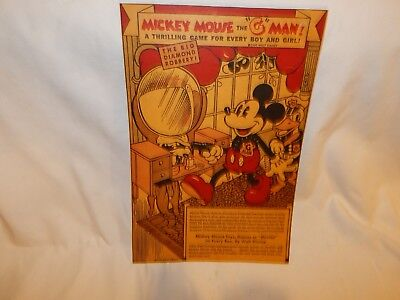 "Walt Disney Advertising Mickey Mouse The "" G "" Man ..dated 1936..100% Original."