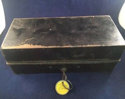Antique Metal Petty Cash Box With Tray and Working Lock And Key
