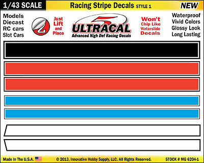 MG6204-1 - 1/43 UltraCal Racing Stripe Decals Stickers Fits SCX Carrera Go