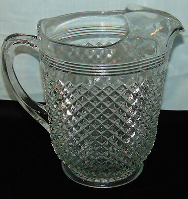 "Anchor Hocking MISS AMERICA CRYSTAL *8 1/2"" 65 oz PITCHER w/ICE LIP*"