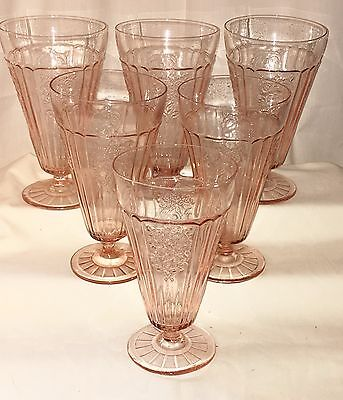 """6 Anchor Hocking MAYFAIR/OPEN ROSE PINK *6 1/2"""" 15 oz FOOTED ICED TEA TUMBLERS*"""