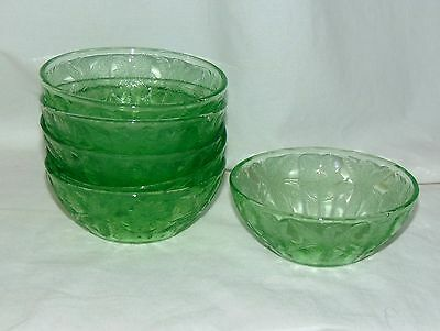 "6 Jeannette FLORAL/POINSETTIA GREEN *4"" BERRY BOWLS*"