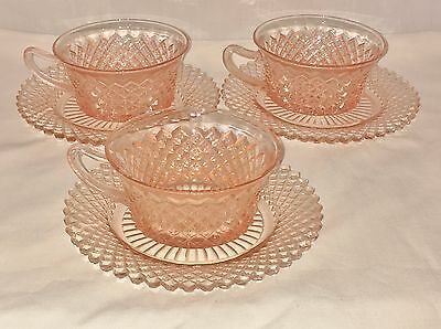 3 Anchor Hocking MISS AMERICA PINK *CUPS & SAUCERS*
