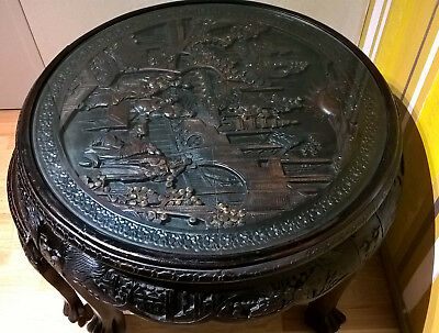 Chinese HAND CARVED SOLID WOOD round COFFEE TABLE + 2 x stools Gold Coast