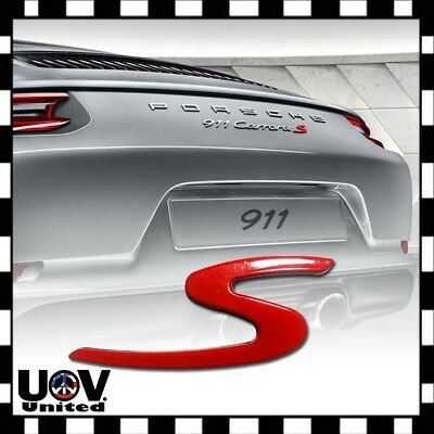 3D Red S Sport Logo Car Badge Emblem Sticker Decal For Macan 911 Porsche Cayenne