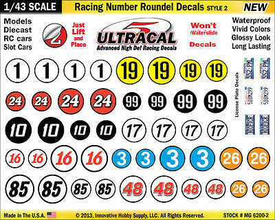 MG6200-2 - 1/43 Scale UltraCal High Def Racing Number Roundel Decals Style 2