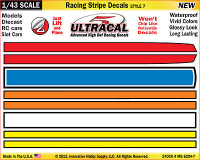 MG6204-7 - 1/43 UltraCal Yellow Blue Stripe Decals Stickers Fits SCX Carrera Go