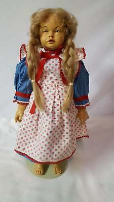 "1990 Handmade in Italy Wood 14"" Girl Doll"