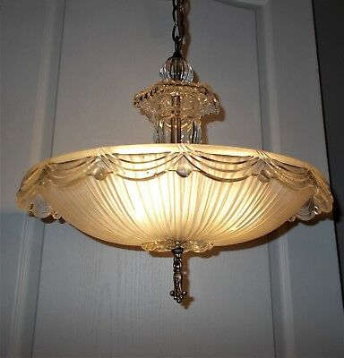 30s Vtg Antique DECO Frosted/Clear Swag & Ball Ceiling Light Fixture Chandelier